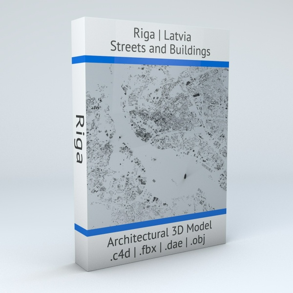 Riga Streets and Buildings Architectural 3D Model