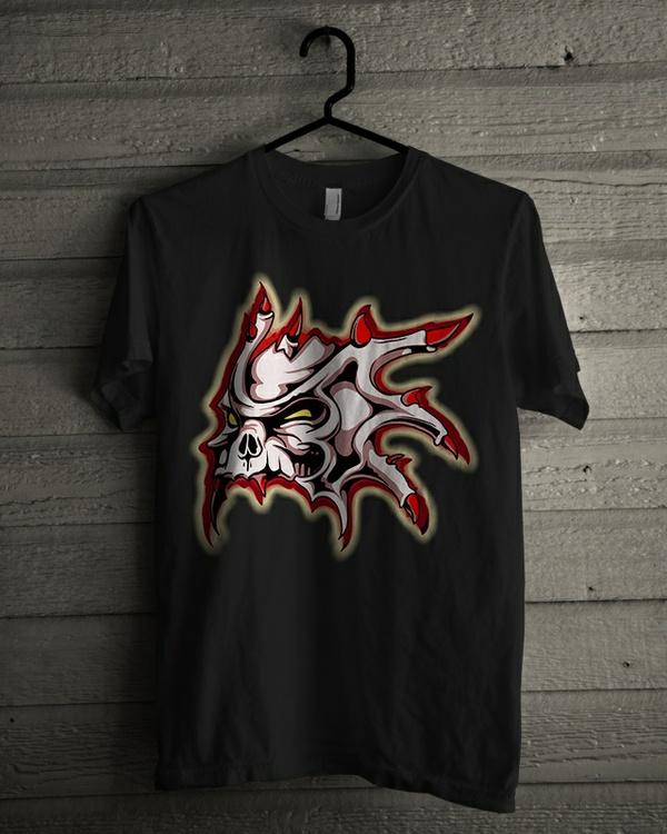 Tshirt Design - Horned Skull In Red And White