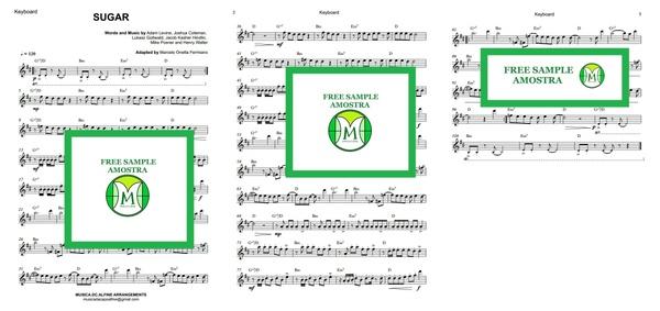 D (key) - Sugar - Maroon 5 - Keyboard - Sheet music