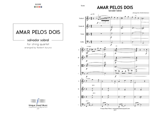 Salvador Sobral - Amar Pelos Dois - Arranged for String Quartet