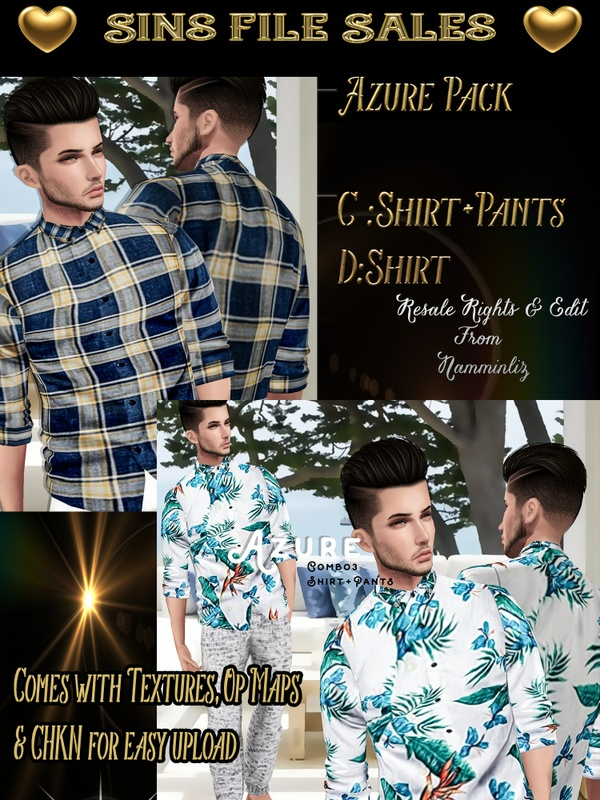 ♥Azure Male Bundle C&D♥ Chkn for easy upload.