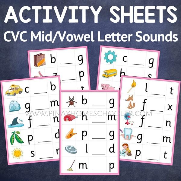 Montessori Language Middle/Vowel Letter Sound Activity Sheets