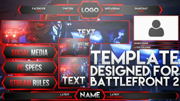 Ultimate Live Stream Overlay Template Pack - Star Wars Battlefront 2 - Photoshop Template - Volume 8