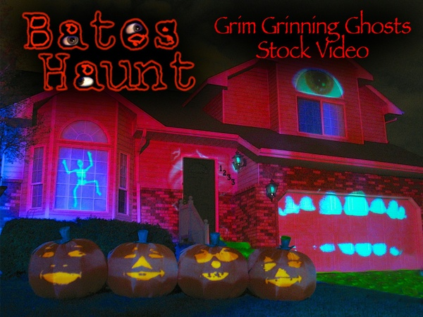 Grim Grinning Ghosts Singing Pumpkins BatesHaunt HD Stock Video