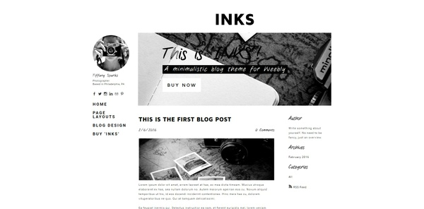 Inks Weebly Theme