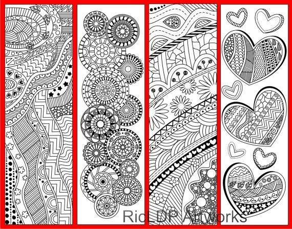 4 Coloring Bookmarks with Abstract Patterns