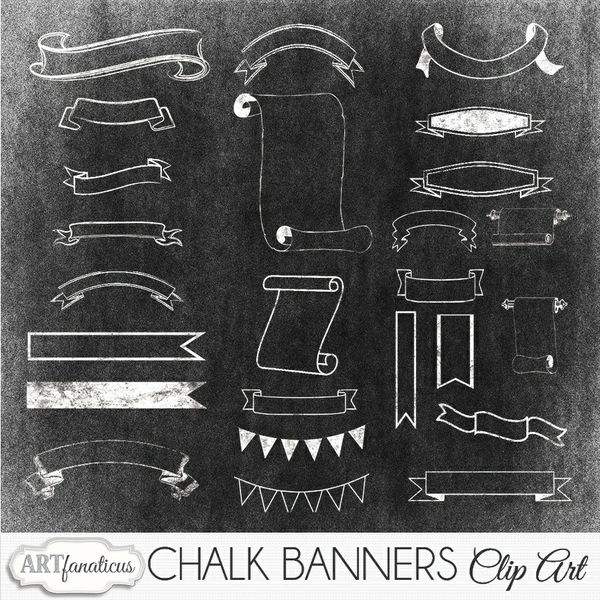 CHALK BANNERS CLIPART