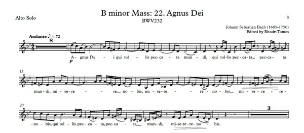 Bach BWV232 Agnus Dei Accompaniment / Sing-Along / Play-Along MP3 And PDF Sheet Music