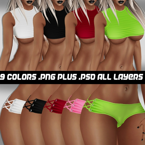 Imvu outfit 9 color textures .png plus .psd of all layers.