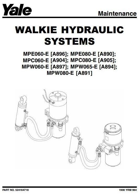 Yale Pallet Truck MPE060E, MPE080E, MPW060E, MPW065E, MPW080E Workshop Service Manual