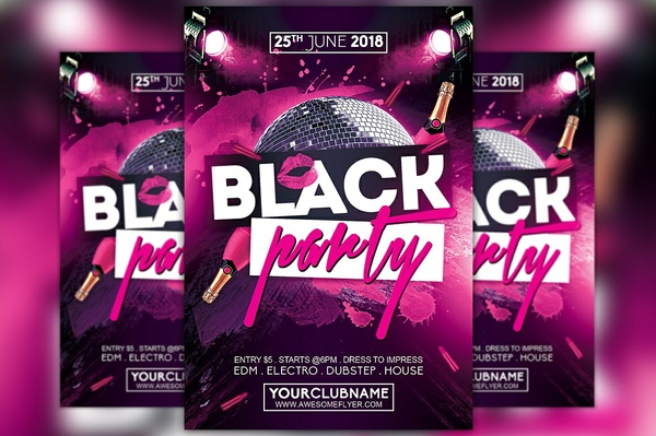 Black Party Night Flyer Template