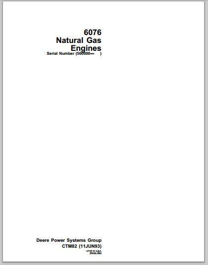 John Deere 6076 Natural GAS Engines workshop manual pdf