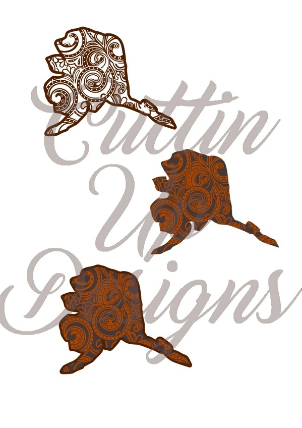 Alaska Paisley Patterned States One color and Layered SVG for Cricut or Cameo