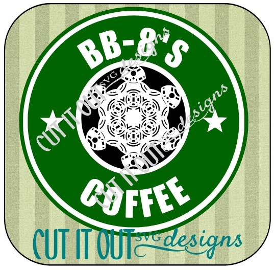 Star Wars: The Force Awakens BB-8 Snowflake Style Coffee Labels SVG File