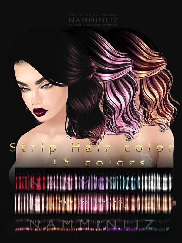 Strip hair color V1, V2, V3  5 colors textures JPG imvu file sale NAMMINLIZ