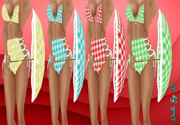 Gingham Umbrella With Poses