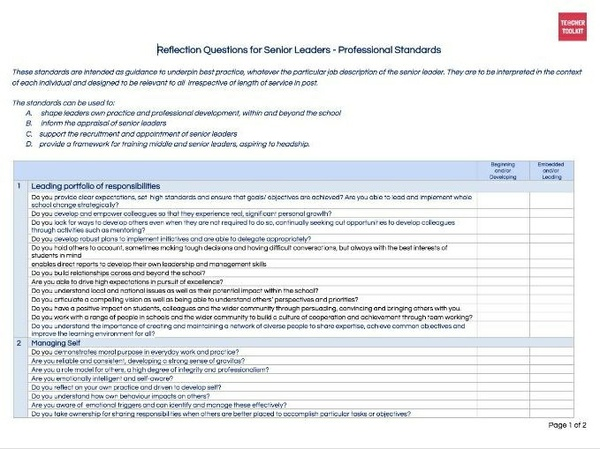 Senior Leaders Professional Standards Reflection Tool by @TeacherToolkit