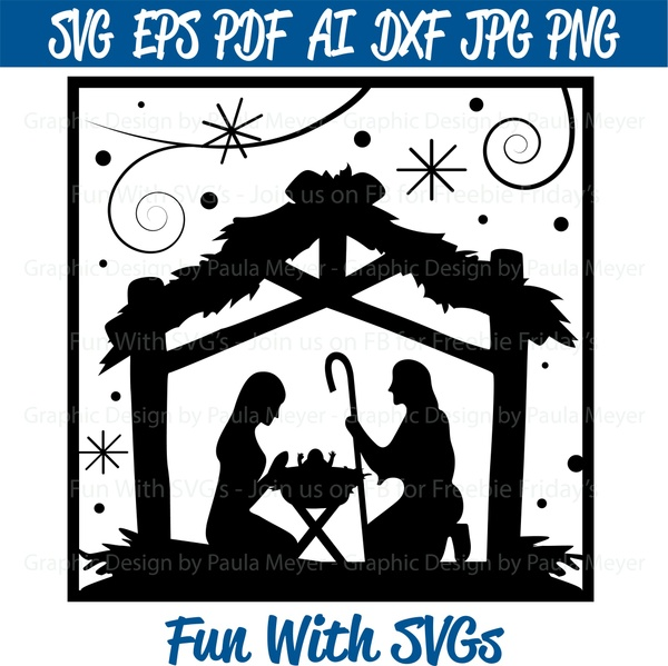 Nativity Scene for Glass Block - SVG Cut File, High Res. Printable Graphics and Editable Vector Art