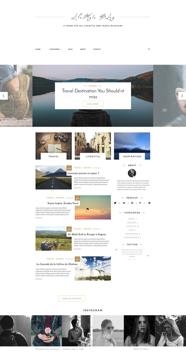 Webdesign Template - Lifestyle / Photography blog