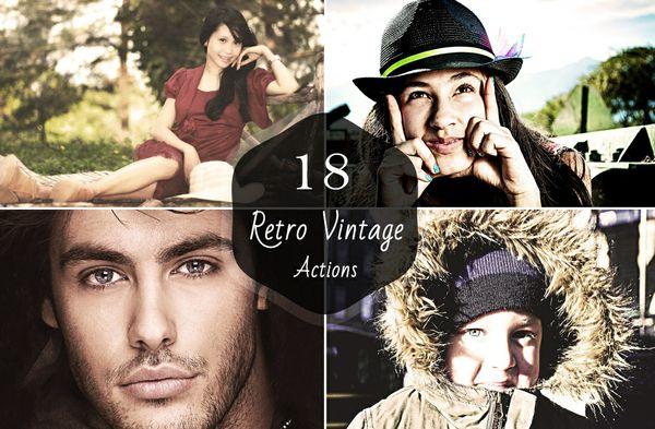 18 Premium Retro Vintage Photoshop Actions