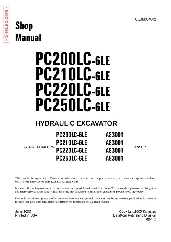 Komatsu PC200/210/220/250LC-6LE Hydraulic Excavator (A83001 and up) Shop Manual - CEBM001002