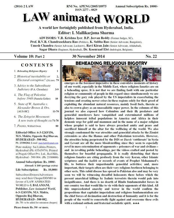 LAW ANIMATED WORLD, 30 November 2014 issue