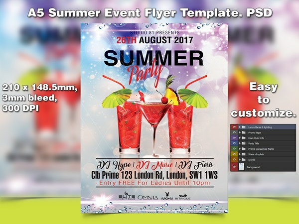 A5 Summer Event PSD Flyer Template 3