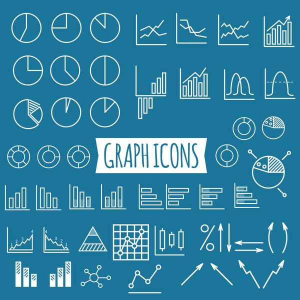 40+ Business charts. Set of thin line graph icons. Outline.