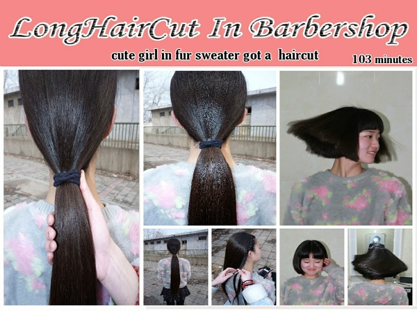 cute girl in fur sweater got a  haircut