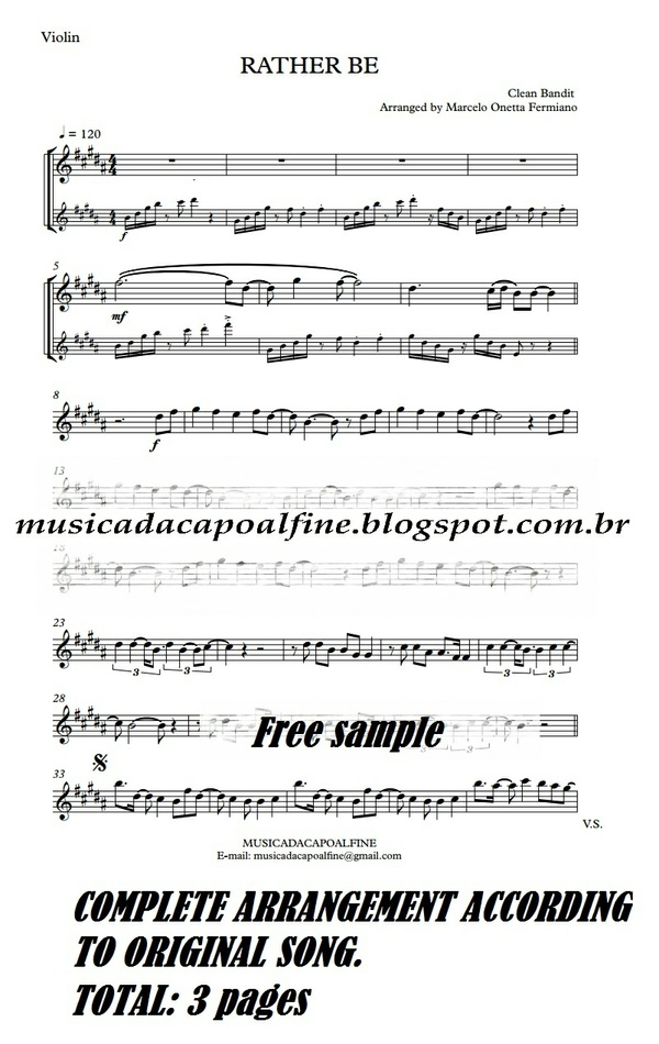 RATHER BE - Clean Bandit -Violin - Sheet music download - Parts.pdf