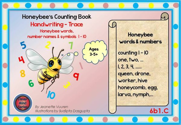 HANDWRITING CARDS: HONEYBEE WORDS & PICTURES & NUMBERS 1 - 10 - 6b1C