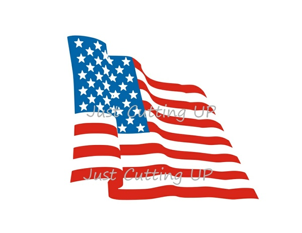 America Flag Rippled Effect- 3 Layers SVG ONLY
