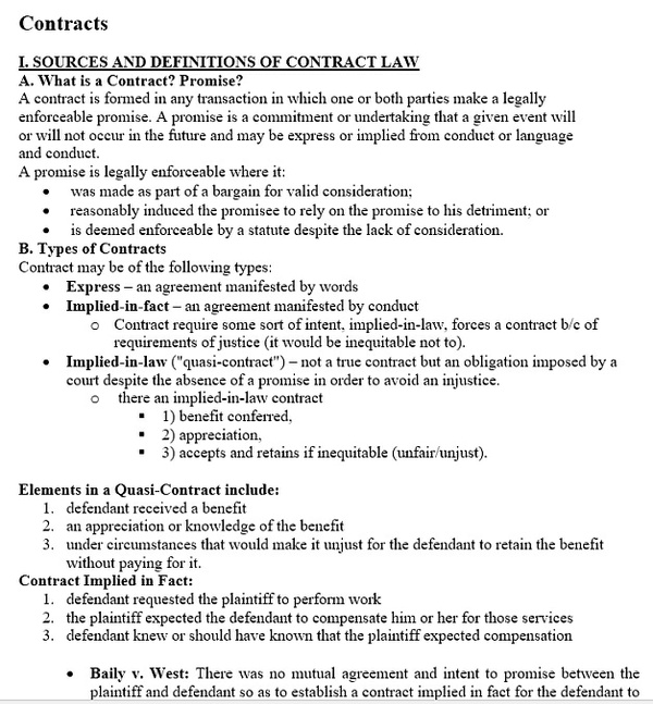 Contracts Outline for Law Students - Quick Review Study Notes