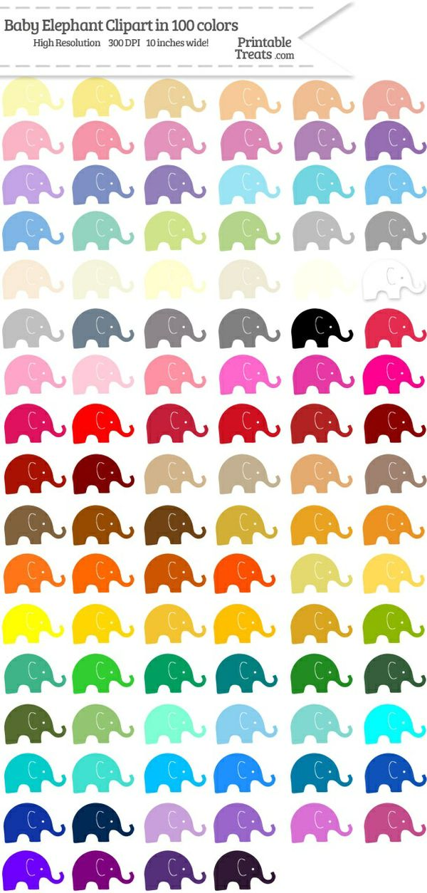 100 Colors Baby Elephant Clipart Password