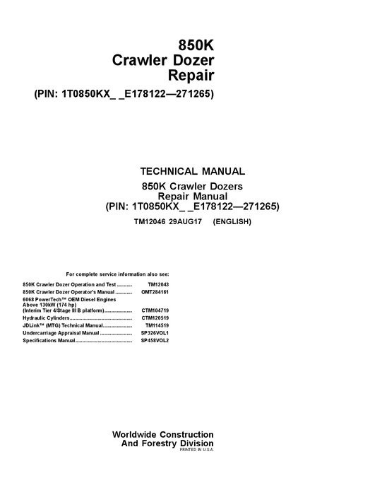 TM12046 JOHN DEERE  850K CRAWLER DOZER TECHNICAL SERVICE MANUAL PDF DOWNLOAD