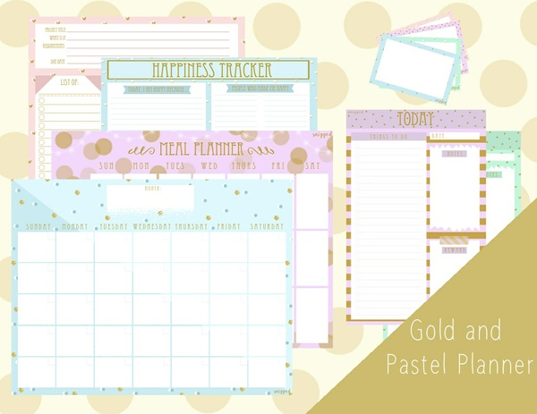 Printable Planner (Gold and Pastel) by Snipped