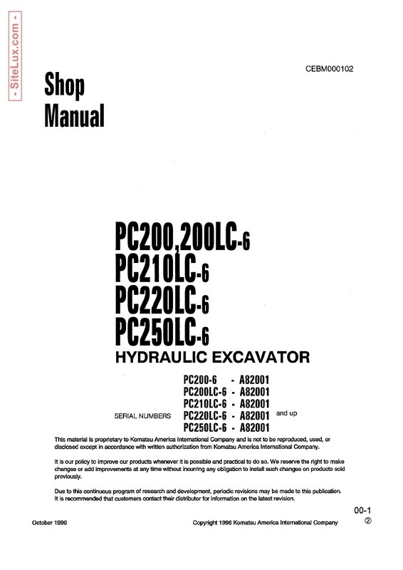Komatsu PC200-6, PC210-6, PC220-6, PC230-6 Hydraulic Excavator Shop Manual - SEBM010106
