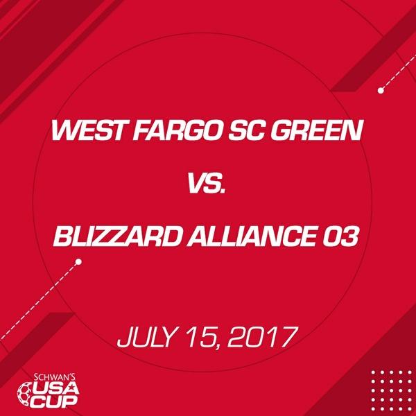 Girls U14 - July 15, 2017 - West Fargo SC Green V. Blizzard Alliance