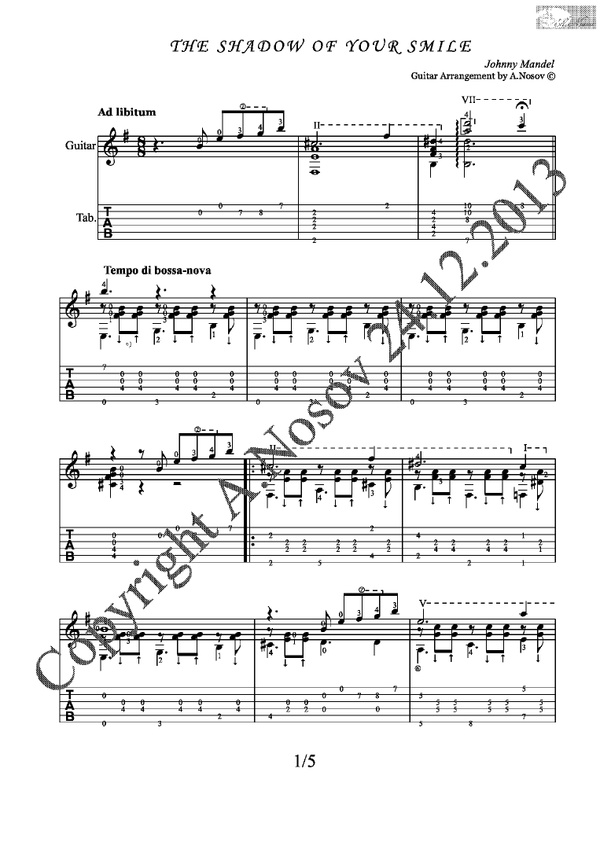 The Shadow of Your Smile (J.Mandel) Sheet music for guitar
