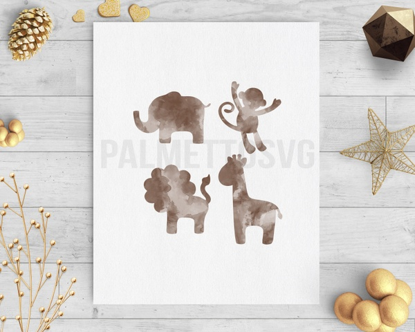 safari animals brown watercolor clip art svg dxf silhouette cricut downloads