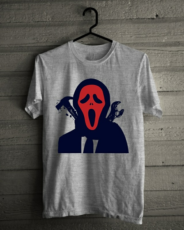 T-shirt Design 'Halloween Red Mask Murderer'