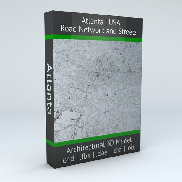 Atlanta Road Network and Streets Architectural 3D Model