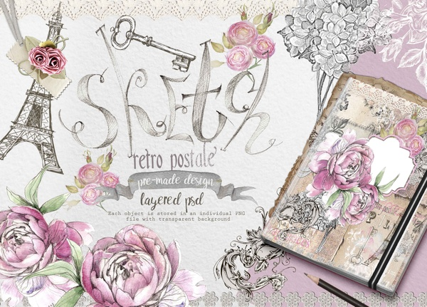 "2 in 1 !!!  Ready-made psd design ""Paris fragrance""& Landmarks postcards"