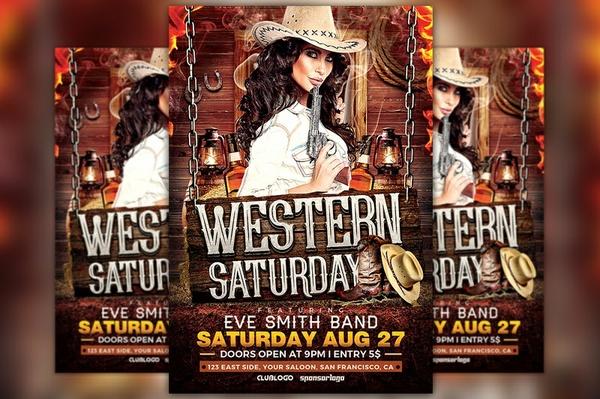 Western Saturday Flyer Template