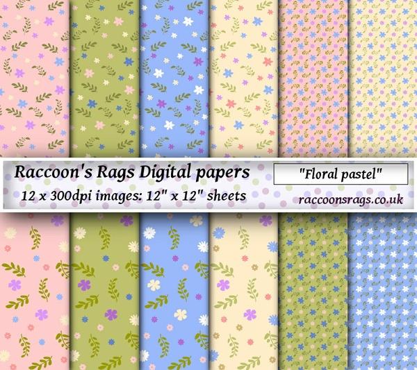 """Digital paper """"Floral pastel"""" Twelve  12"""" x 12"""" images: artjournal, collage, scrapbook, cards"""