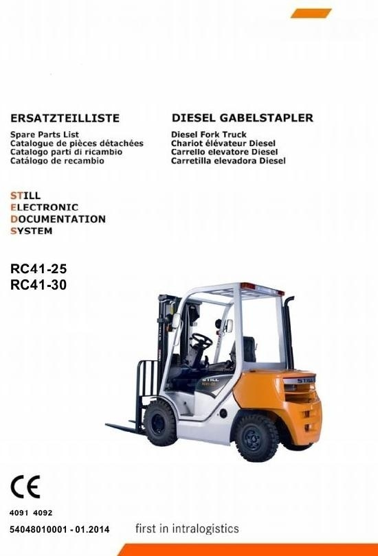 Still Diesel Forklift Truck Type RC41-25, RC41-30: 4091, 4092 Spare Parts Manual, Catalog