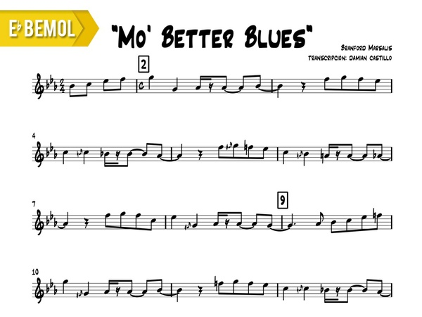 "Branford Marsalis - ""Mo' Better Blues"" - Eb"