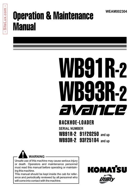 Komatsu WB91R-2, WB93R-2 avance Backhoe Loader Operation & Maintenance Manual - WEAM002304