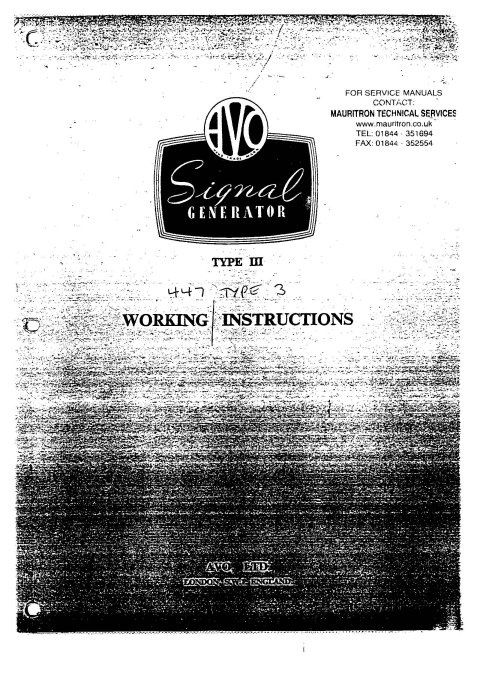 Avo Type 3 Signal Gen Instruction Manual