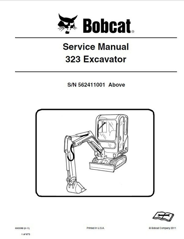 Bobcat 323 Excavator Service Repair Manual PDF S/N 5624 11001 & Up